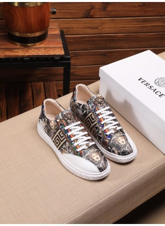 VERSACE 2020 MEDUSA LOW-TOP SNEAKERS MEN'S PRINT BEAUTY SHOES