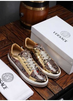 VERSACE EUROPE STATION BEAUTY HEAD LEATHER CASUAL WILD BREATHABLE BOARD SHOES MEN