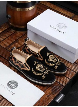 VERSACE EUROPE MEDUSA QUEEN MEN'S LEATHER EMBROIDERED SHOES WITH LOGO