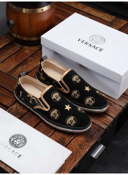 VERSACE EUROPE STATION EMBROIDERED MEDUSA SLIP-ON SHOES WITH LOGO
