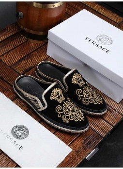 VERSACE MEDUSA HALF SLIPPERS EMBROIDERED MEN'S SHOES WITH LOGO