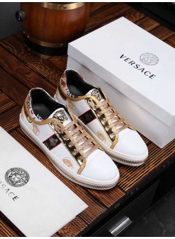 VERSACE EUROPE MEN'S FASHION NEW MEDUSA EMBROIDERED MEN'S SHOES WITH LOGO