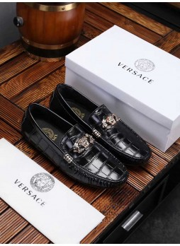VERSACE MEDUSA PEAS SHOES MEN'S CASUAL DRIVING SHOES WITH LOGO
