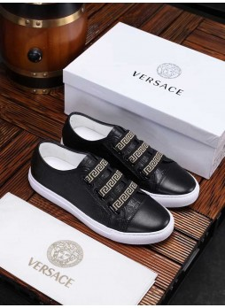 VERSACE EUROPEAN MEN'S SHOES PRINTED MEDUSA SNEAKERS MEN'S COLOR MATCHING CASUAL SHOES WITH LOGO