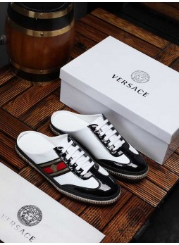 VERSACE EUROPE 2019 MEDUSA FASHION LACE UP CASUAL MEN'S SHOES WITH LOGO