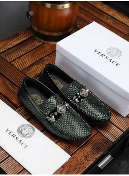 VERSACE EUROPE MEN'S SHOES PRINTED EMBROIDERED MEDUSA LEATHER DRIVING SHOES WITH LOGO