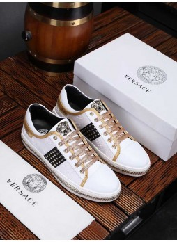 VERSACE MEDUSA FASHIONABLE WEARABLE LOW TOP LEATHER WHITE SHOES WITH LOGO