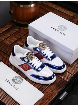 VERSACE EUROPE'S MEDUSA LEATHER MEN'S WHITE SHOES WITH LOGO