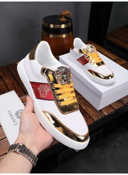 VERSACE EUROPE 2019 MEDUSA LEATHER EUROPEAN AND AMERICAN BRITISH STYLE MEN'S WHITE SHOES WITH LOGO