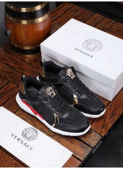 VERSACE EUROPEAN STATION SPORTS HUME MEDUSA EMBOSSED MEN'S SHOES WITH LOGO