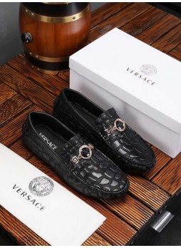 VERSACE EUROPEAN STATION MEN'S SHOES EMBOSSED CASUAL BUSINESS BEANIE SHOES METAL BEAUTY HEAD WITH LOGO